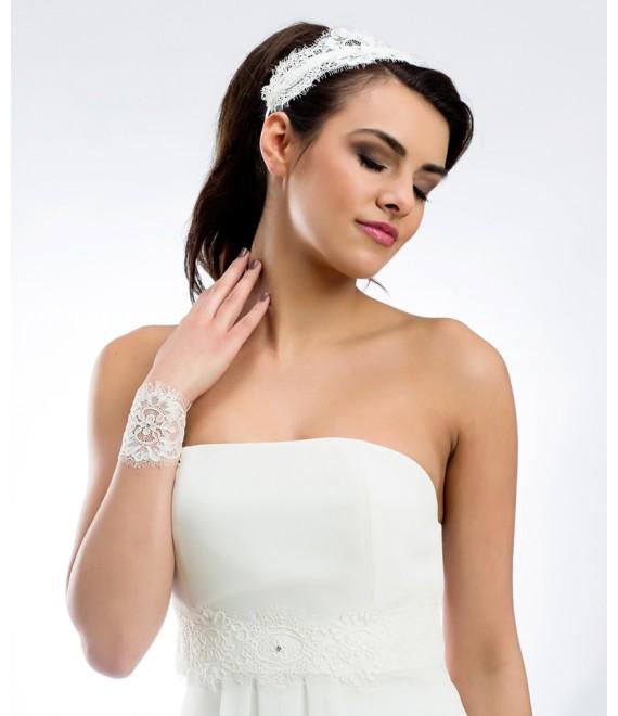Haarband van kant met Swarovski kristallen 112 - The Beautiful Bride Shop