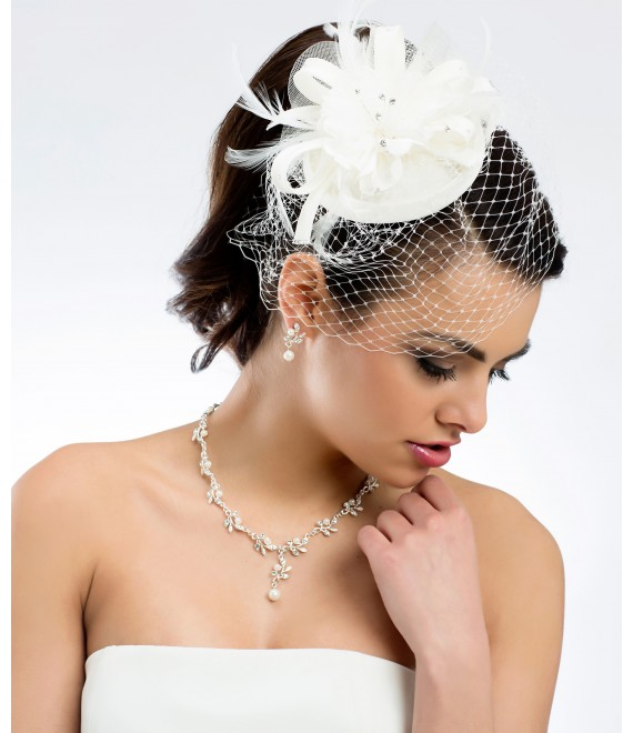 Prachtige mini hoed-Fascinator 92 - The Beautiful Bride Shop