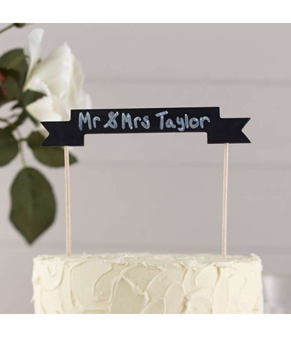 Vintage krijtbord cake topper 2  - The Beautiful Bride Shop