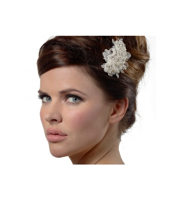 Haarjuweel met kant BB-1574 Poirier- The Beautiful Bride Shop