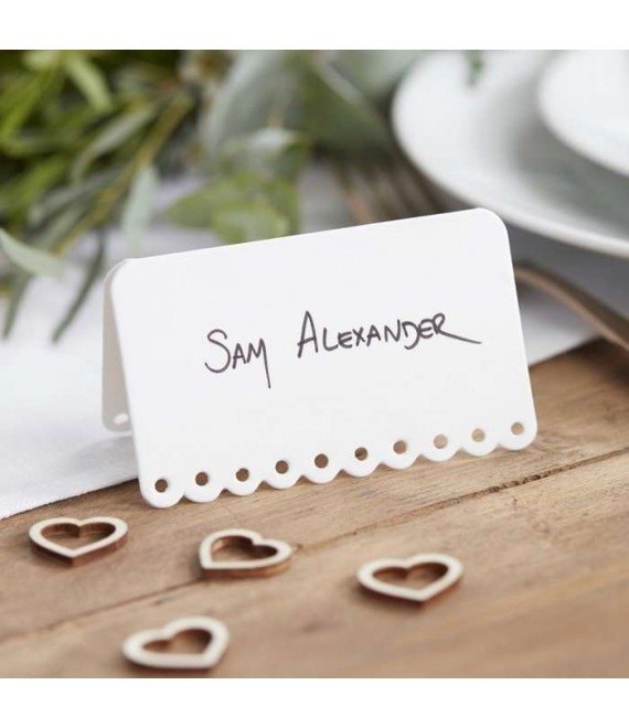 Scalloped White Place Cards - The Beautiful Bride Shop