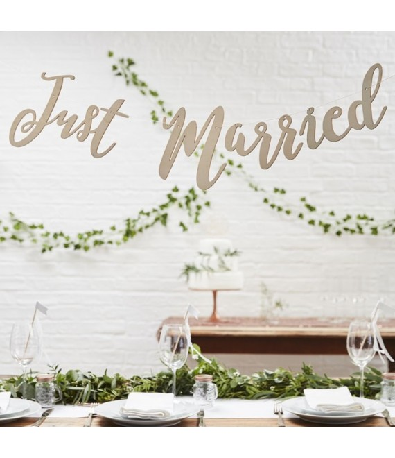 Houten slinger Just Married  - The Beautiful Bride Shop