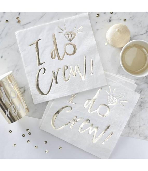 I Do Crew! Servetten wit-goud 1 - The Beautiful Bride Shop