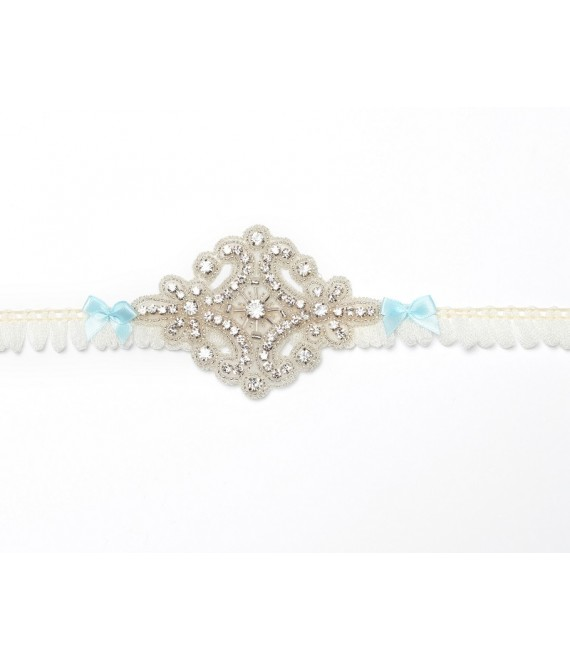 Kousenband met strass-accessoire KB-26 Poirier - The Beautiful Bride Shop