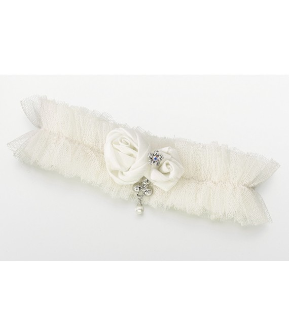 Kousenband van tulle en satijn LG191 - The Beautiful Bride Shop