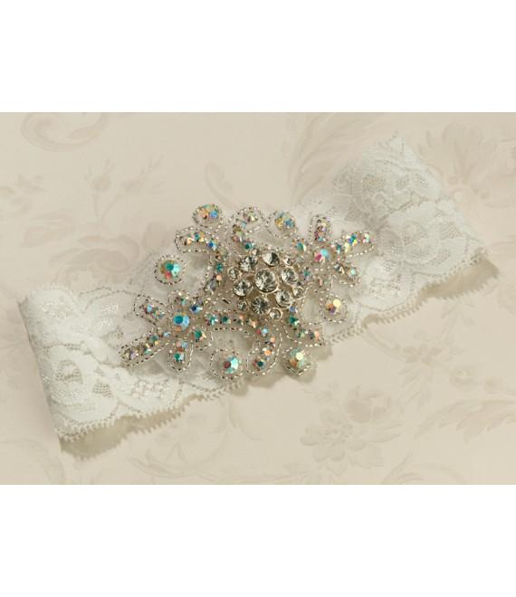 Mooie vintage kousenband in ivoor van kant Lillian Rose (LG430I) - The Beautiful Bride Shop