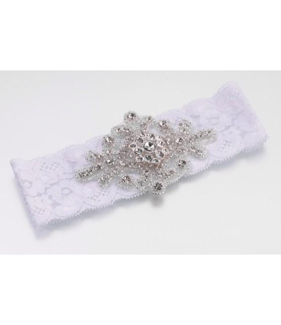 Mooie witte vintage kousenband van kant Lillian Rose (LG430BK) - The Beautiful Bride Shop