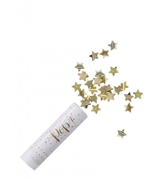 Gold Compressed Air Confetti Cannon Shooter - Metallic Star 1 - The Beautiful Bride Shop