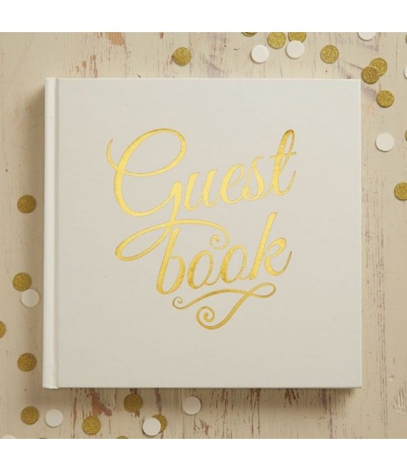 Ivory & Gold Foiled Wedding Guest Book - Metallic Perfection - BBS