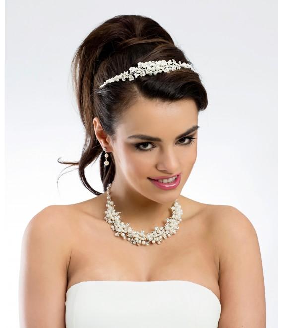 Sieradenset (ketting en oorbellen) met parels en kristallen (N29) van  - The Beautiful Bride Shop