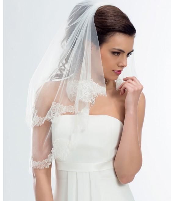 2-laagse sluier met een rand van Frans kant S169 -  The Beautiful Bride Shop