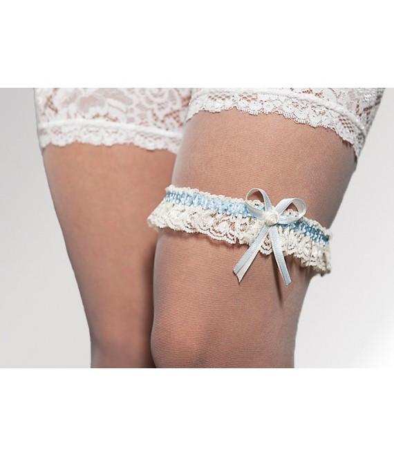 Kousenband Ivoor met Blauw - The Beautiful Bride Shop