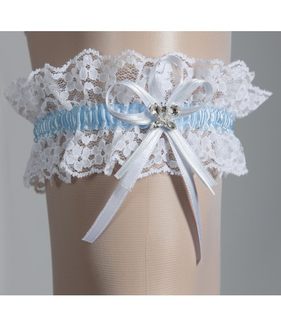 Kousenband wit met blauw - The Beautiful Bride Shop