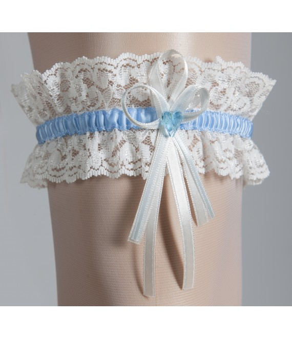Kousenband met een blauw hartje wit met blauw - The Beautiful Bride Shop