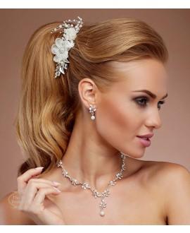 Prachtige haarkam met bloemen, kristallen en parels 4189