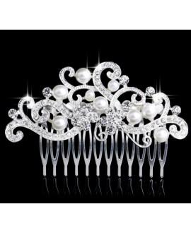 Prachtige haarkam met strass en parels 53220