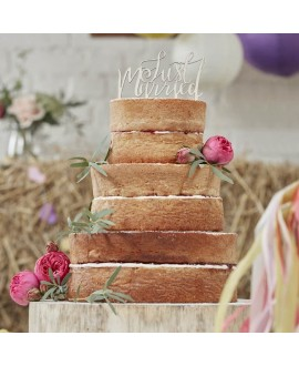 Houten Just Married taarttopper - Boho