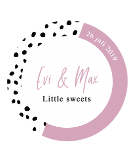 Etiket Little Sweets Dots - rond 40x40mm (per 24 stuks)