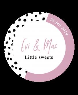 Etiket Little Sweets Dots - rond 40x40mm (per 24 stuks)
