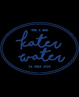 Etiket katerwater blauw - ovaal 63,5x42,3mm (per 18 stuks)