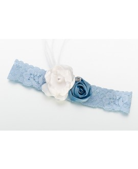 Vintage kousenband van kant (blauw)