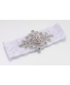 Witte kousenband van kant met luxe applicatie