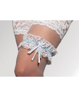kousenband wit & blauw