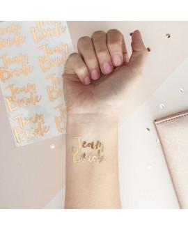 Roségouden tijdelijke tattoo vrijgezellenfeest  - Team Bride
