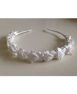Tiara (ivoor) met roosjes voor bruidsmeisjes