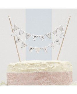 Just married cake topper (Wit)