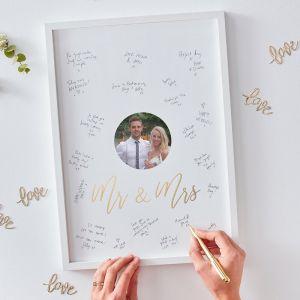 Gold Wedding Mr & Mrs alternatief gastenboek fotolijst GO-172
