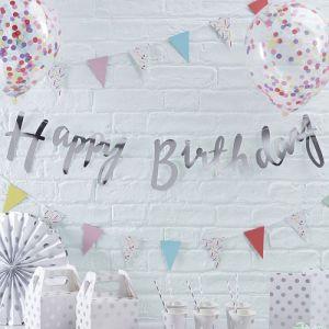 Zilver Happy Birthday slinger | Pick & Mix