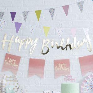Gouden Happy Birthday slinger | Pick & Mix