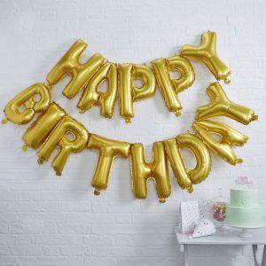 Gouden Happy Birthday folieballonnen | Pick & Mix