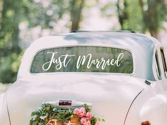 NIEUW! Just Married Auto Sticker